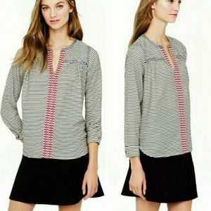 B2G1 J. Crew Striped Embroidered Trim Blouse